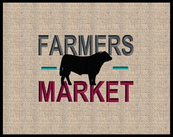 Farmers Market Embroidery Design Farm House Embroidery Design Bull Embroidery Design 5 sizes  4x4 5x7 up to 8x6