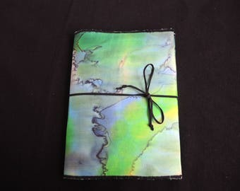NEW Green Water painted silk sketchbook cover and pad, A5 plain, every one One Of A Kind unique- art gift -stockingfiller ready to ship