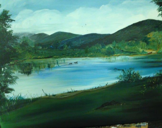 "Lake in the Carolina Mountains - 18"" x 24"" acrylic on canvas"