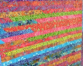 Lap Quilt, Colorful Blanket, Quilted Throw, Jelly Roll Quilt, Batik Fabric, Strip Quilt, Modern Quilt