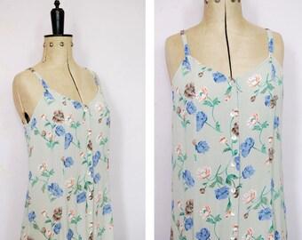 Vintage 1990s floral dress - 90s summer dress - 90s grunge dress - 90s floral maxi dress - 90s tank dress - 90s sleeveless dress spag