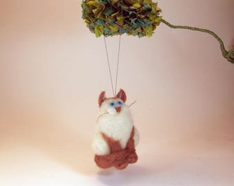 Felted Siamese cat ornament/Siamese cat hanging decor/felted cat hanging ornament/cat car rear view mirror charm/needle felted cat charm