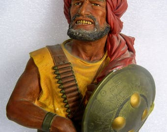 1967 Bossons Fighting Pirate Pathan Chalkware Head Wall Hanging W/ Shield Sword