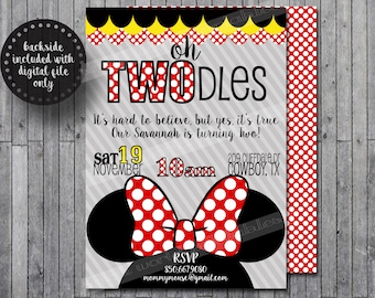 Oh TWOdles invitations Minnie Mouse Girls Birthday Party Printable or Printed with Envelopes 5x7 or 4x6- Red FREE Thank You Card w/ Digital