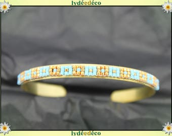 Bangle Bracelet 6mm turquoise and gold brass and glass beads woven
