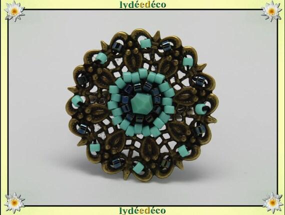 Charming retro vintage adjustable flower ring beads Japanese turquoise glass black brass 25mm