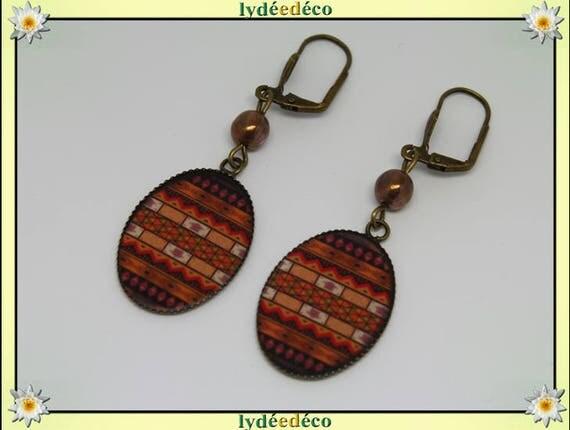 Earrings retro African vintage brown black Tan resin beads glass brass bronze 18 x 25mm