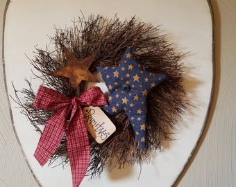Americana wall decor, Americana wreath,  primitive decor,  country wall decor,  country decor