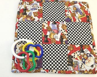 Pot Holder, Placemat, Snack Mat, Humpty Dumpty, Old Nanny, Olivia Ostrich, Mini quilt, black and white, Checkerboard