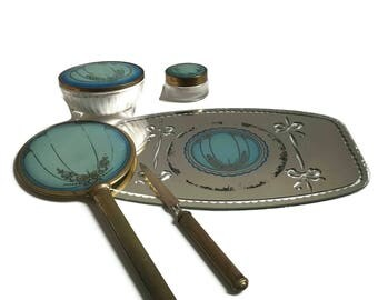 Vintage Vanity Set Art Deco Five Piece Set Blue Dresser Set Boudoir Dressing Table Home Decor Mirror Powder Jar