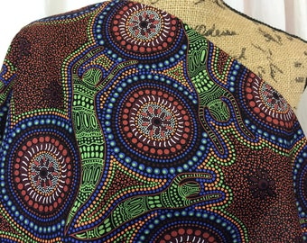 Australian Fabric--Aboriginal Fabric--Aboriginal Art--Cotton Fabric--Ethnic Fabric--Winter Spirits Brown--Australian Fabric by the HALF YARD