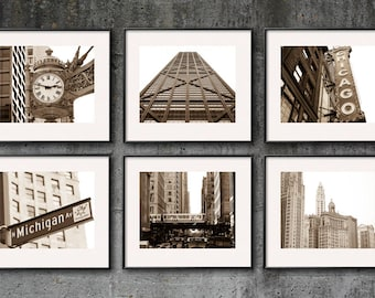 Chicago Photography, Chicago Print Set, City Wall Art, City Prints Canvas Art Sepia Black and White Downtown Chicago Photo Set Architecture