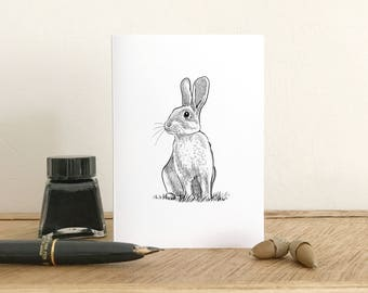 Rabbit greeting card - Blank Card - Fine Art Giclee Card - Birthday card - Thank you card - Small note card