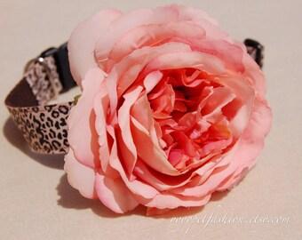 Modern leopard dog collar.beautiful handmade flower dog collar. Pet collar, dog party or wedding collar.girl dog collar.Pet Birthday gift