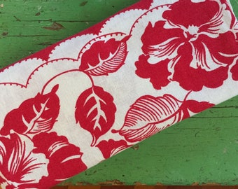 Vintage Mid Century Tablecloth, Vibrant Red White Tropical Flowers, Cotton LInen, 44 x 50, Charming Colorway, Upcycling Gift Decor Display