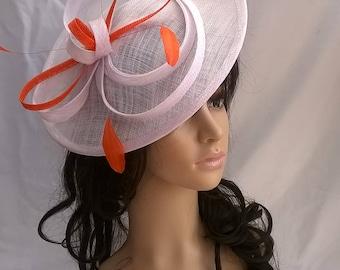 White & orange Fascinator..Stunning  Fascinator ..Sinamay disc style  with orange feathers