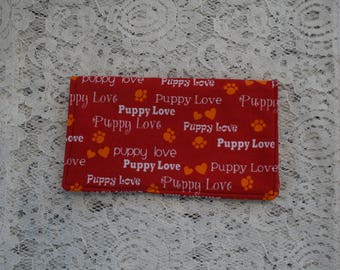 Fabric Checkbook Cover, Puppy Love Theme, Cash Wallet,