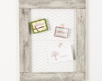 Barnwood Picture Frame Chicken Wire Photo Display | 27 x 23 Inch - Whitewash