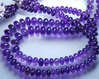8 Inch Strand,Super Rare Finest Quality Purple Natural African AMETHYST Smooth Polished Rondelles,6.5-7mm