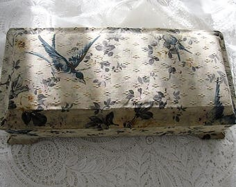 BEAUTIFUL Antique Floral Fabric Boudoir Box, Jewelry Box, Sewing Box, Glove Box,Roses and Blue Birds Fabric Collectible Fabric Covered Boxes