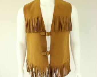 60's Faux Suede Fringe Vest MacMurray of California Men's Hippie