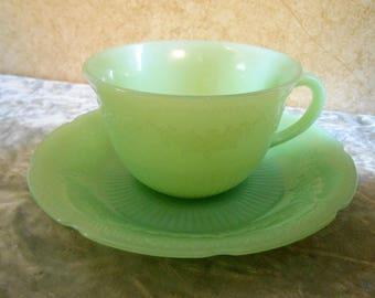 Jadite Coffee Cup & Saucer