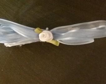 Handmade Blue And White Hair Bow #1