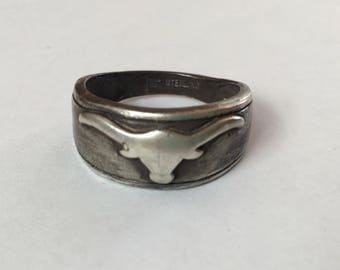 vintage sterling Bell Trading Post steer skull ring, size 11.5