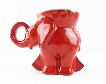 Frankoma 'Flame' Red 'GOP 1976' Mug - Flame Red Color - 'D215-868' - 1970s Retro - Unusual Frankoma Glaze