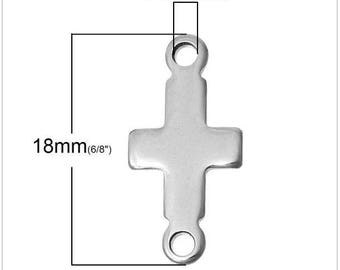 Connector 2 holes 18 steel cross pendant x 9 mm engraved engraving stamping