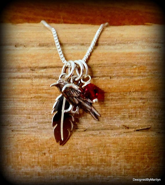 Sterling silver crow necklace, Southwestern American, crow trickster, Raven necklace, totem symbol
