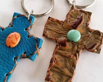 Cross Key Chains, Leather Cross Key Rings, Rustic Cross Key Chain, Southwest Cross Keychain