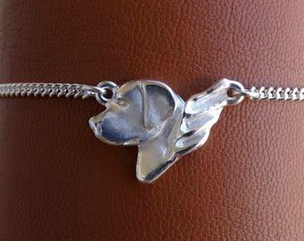 Sterling Silver Labrador Retriever Angel Anklet
