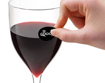 Grooms Crew Wine Glass Decals, 1 Inch Round Glass Tags, Glass Charms, Glass Not included, 24 Per Pack