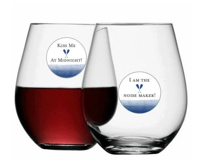 New Years Eve Wine Glass Decals Disposable, Bling It On - 8 Pack - Glass Not included