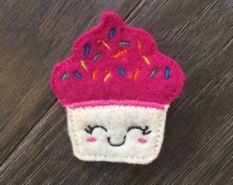 Birthday Cupcake inspired feltie hair clip