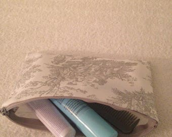 Jamestown Toile Gray,Makeup Bag,Makeup Case,Cosmetics Makeup bag