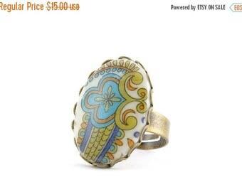 "25% OFF SALE Vintage Boho Ring, ""Botanical Garden"" Ring, Tile Ring"