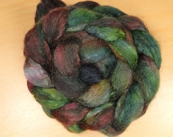 Wood - BFL, kid mohair top in green and brown