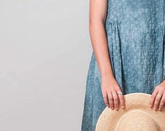 ON SALE Grey Dress Dress, Cotton sleeveless dress, hand dyed dress, Cotton tank dress, short dress, embroidered Dress