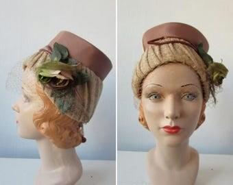 30% Off Flash Sale 1960s hat   vintage 1960s hat   vintage bucket hat   autumn  hat   floral hat   flower hat   small   The Tincelle Hat
