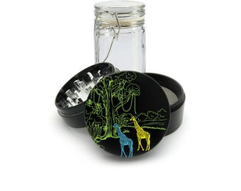 Wild 2 Giraffe at Night UV print on the Grinder FREE Glass included! 4 Piece Herb Aluminum Black cnc Grinder 0284