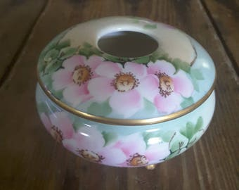 Vintage MZ Austria Hand Painted Pink Roses Footed Hair Receiver Shabby Chic Cottage Style