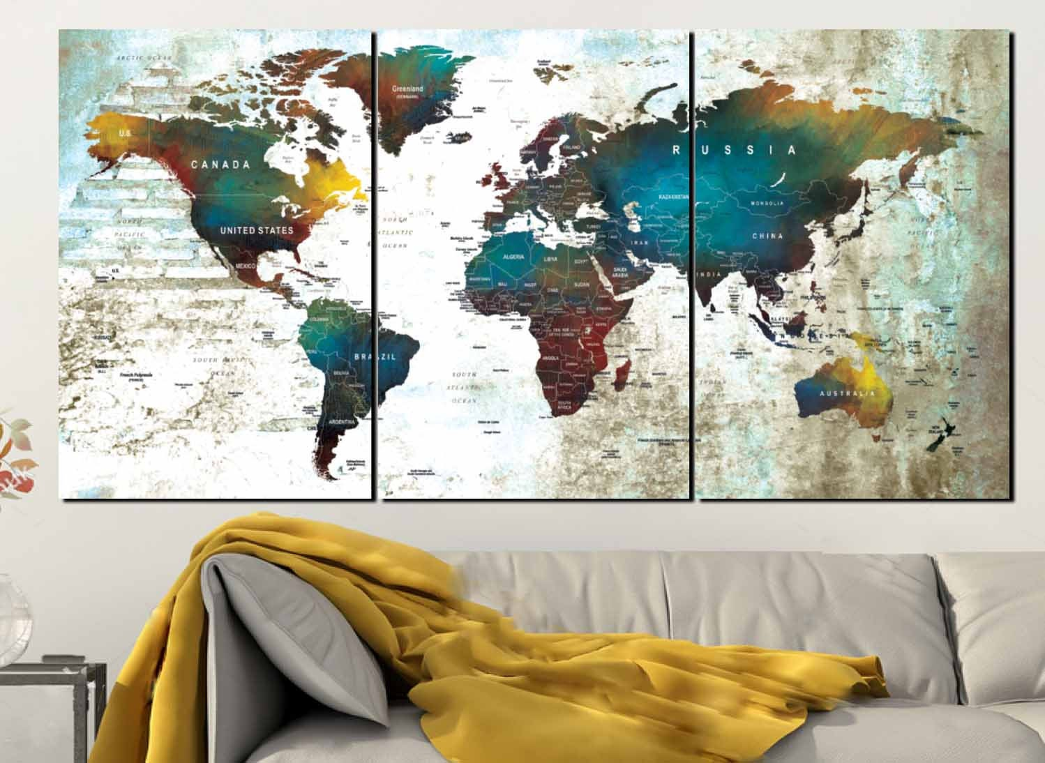 Large World Map Watercolor Wall ArtPush Pin Map CanvasWorld Map - World map canvas
