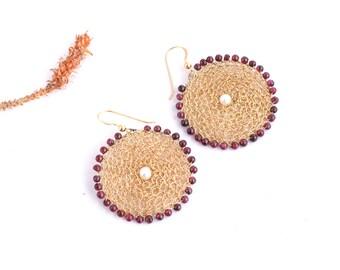 Gold Large Round Earrings,Gold Circle Earrings, Statement jewelry, Geometric Earrings,Lace Earrings,14K Gold-filled Garnet & Pearls Earrings
