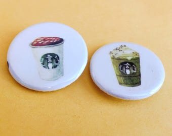 Starbucks Latte Coffee Pinback Buttons Badges 1.25 inch Flair  Set of 2