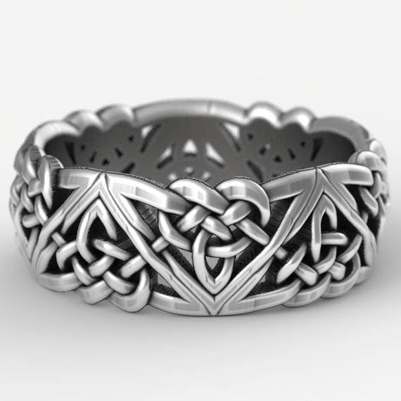 Celtic Wedding Ring With Celtic Knots in Sterling Silver, Made in Your Size CR-1105