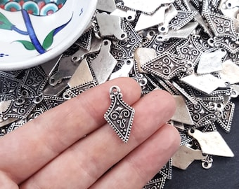 Arrow Shield Spear Head Spike Charms Tribal Ethnic Matte Antique Silver Plated Turkish Jewelry Making Supplies Findings Components - 8pc
