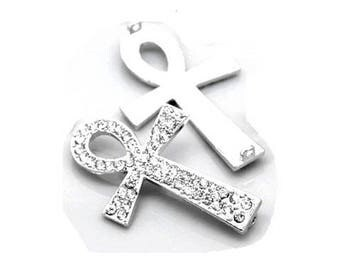 "1 Connector ""ANKH"" silver and rhinestone Crystal 4.1 cm"