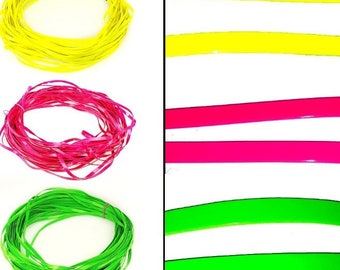 1 m of Ribbon synthetic leather, semi rigid, green, yellow or neon pink, 1 cm